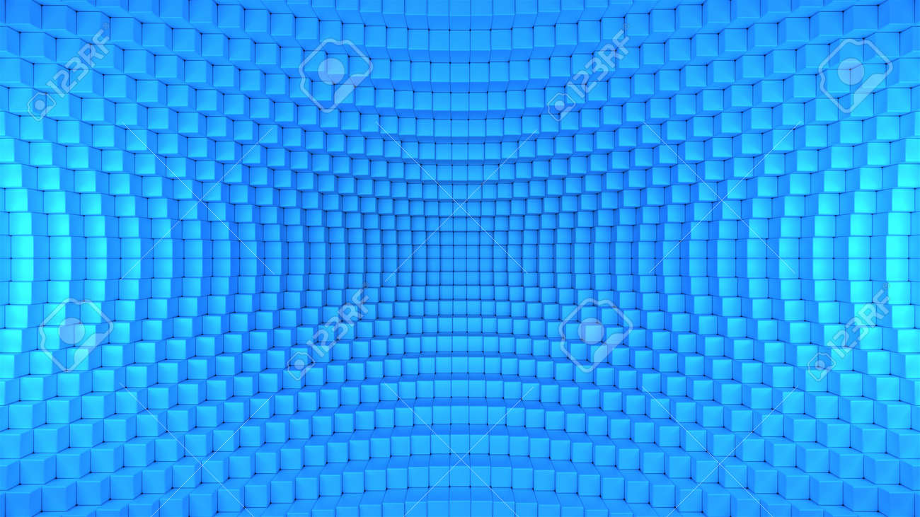 3d render illustration of squares in a distorted space. Geometric abstract background in blue - 132225067