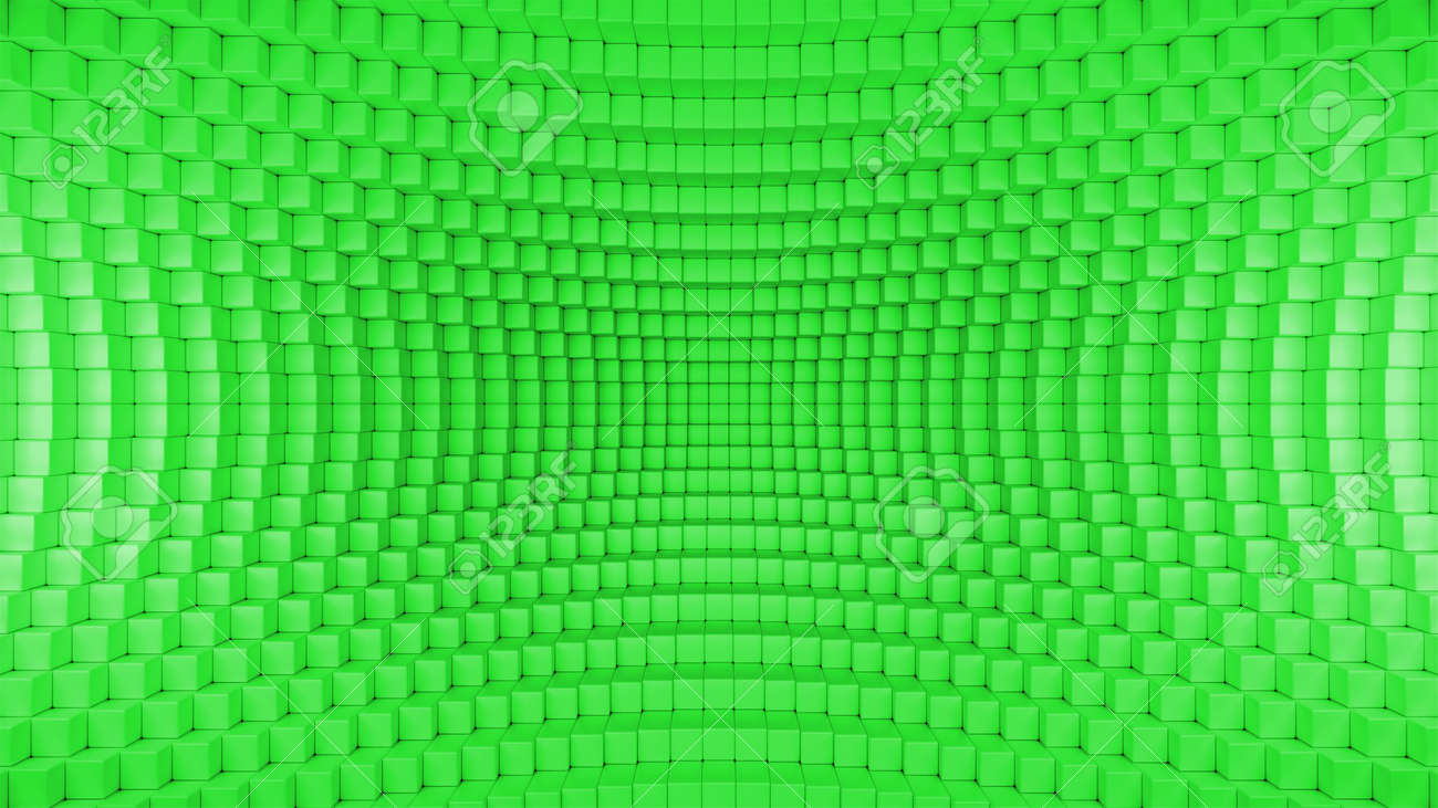 3d render illustration of squares in a distorted space. Geometric abstract background in green - 132225071