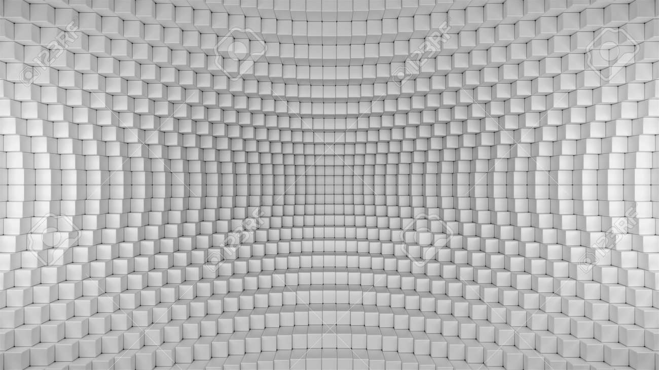 3d render illustration of squares in a distorted space. Geometric abstract background in grey - 132225070