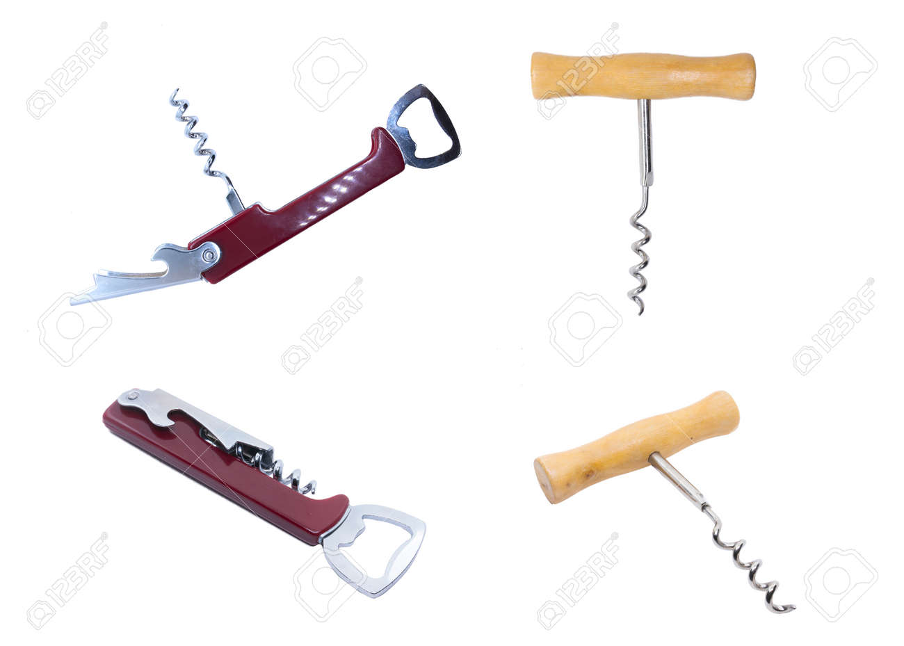 Red modern universal corkscrew. Classic wooden corkscrew for wine. Kitchen corkscrew isolated on white - 132225082