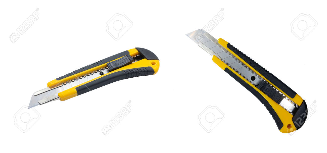 Yellow stationery knife isolated on white background. Office knife front view. Perspective view - 132225793