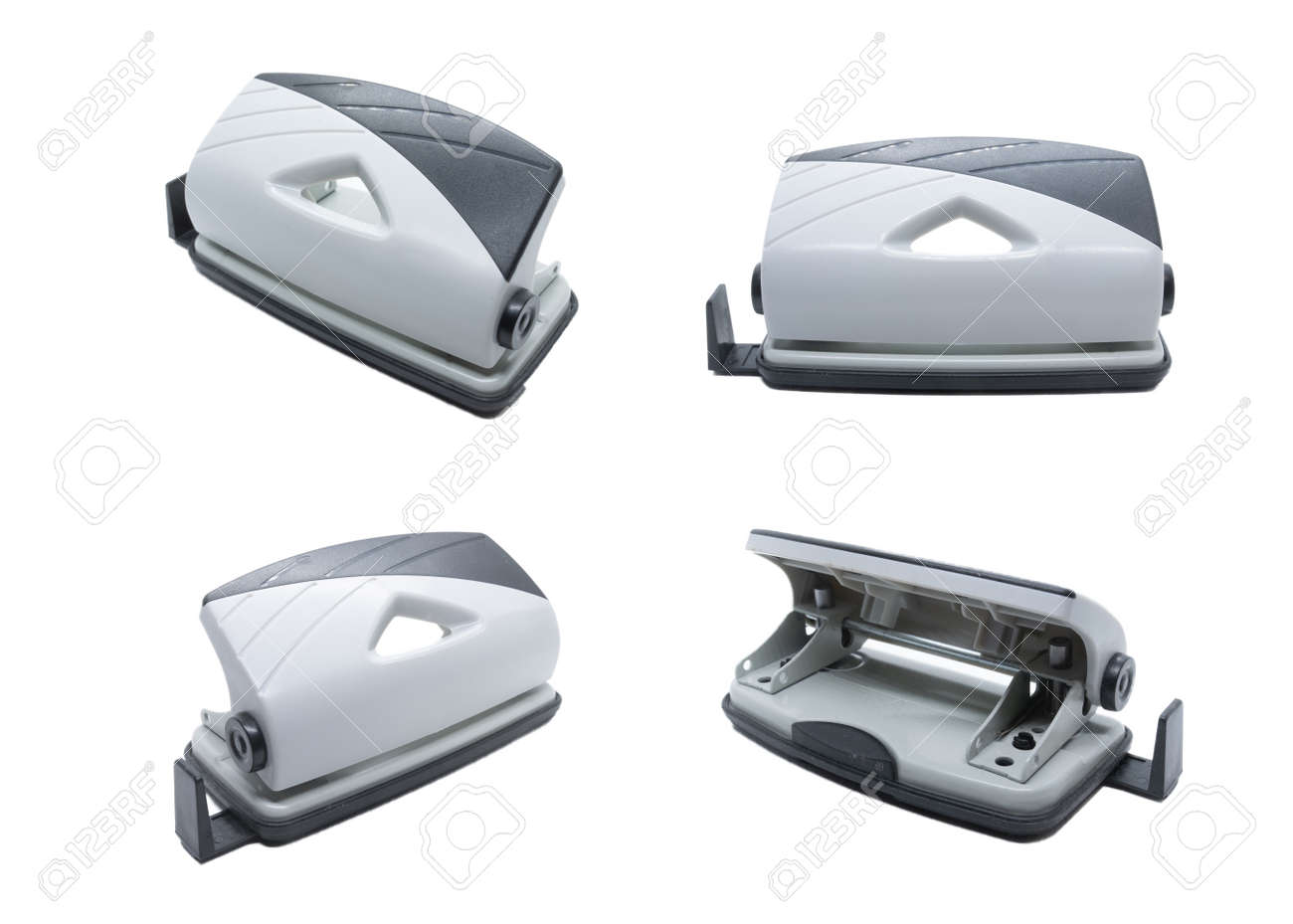 Grey Desktop Hole Punch isolated on white background. Front view, rear view, 45 degree angle view. - 132225795