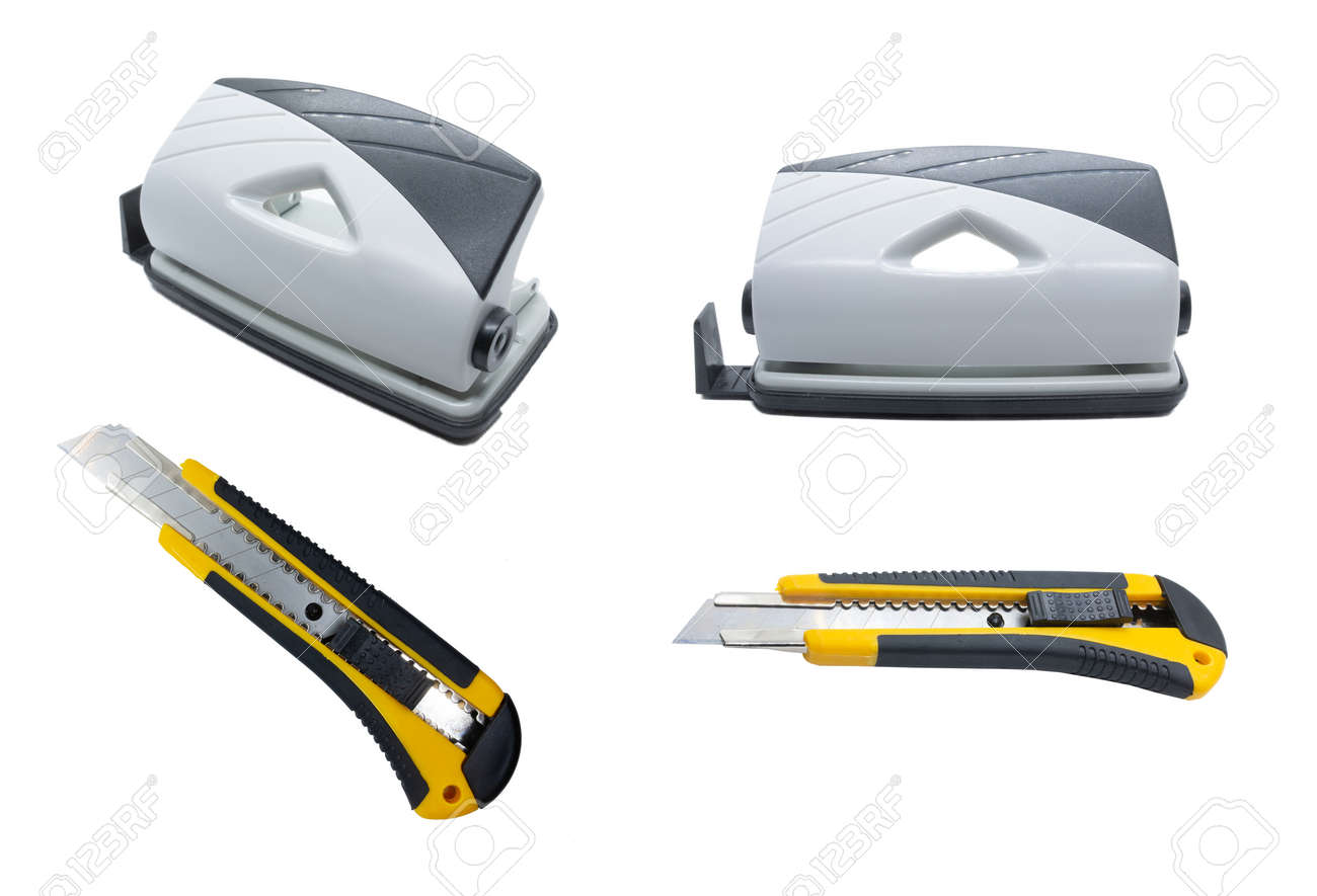 Grey Desktop Hole Punch and Yellow stationery knife isolated on white background. Front view. Side view. - 132225801