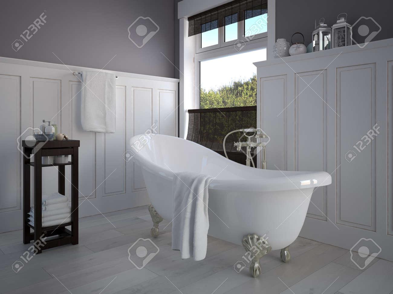 Vintage salle de bain de couleur beige avec un génie sanitaire or