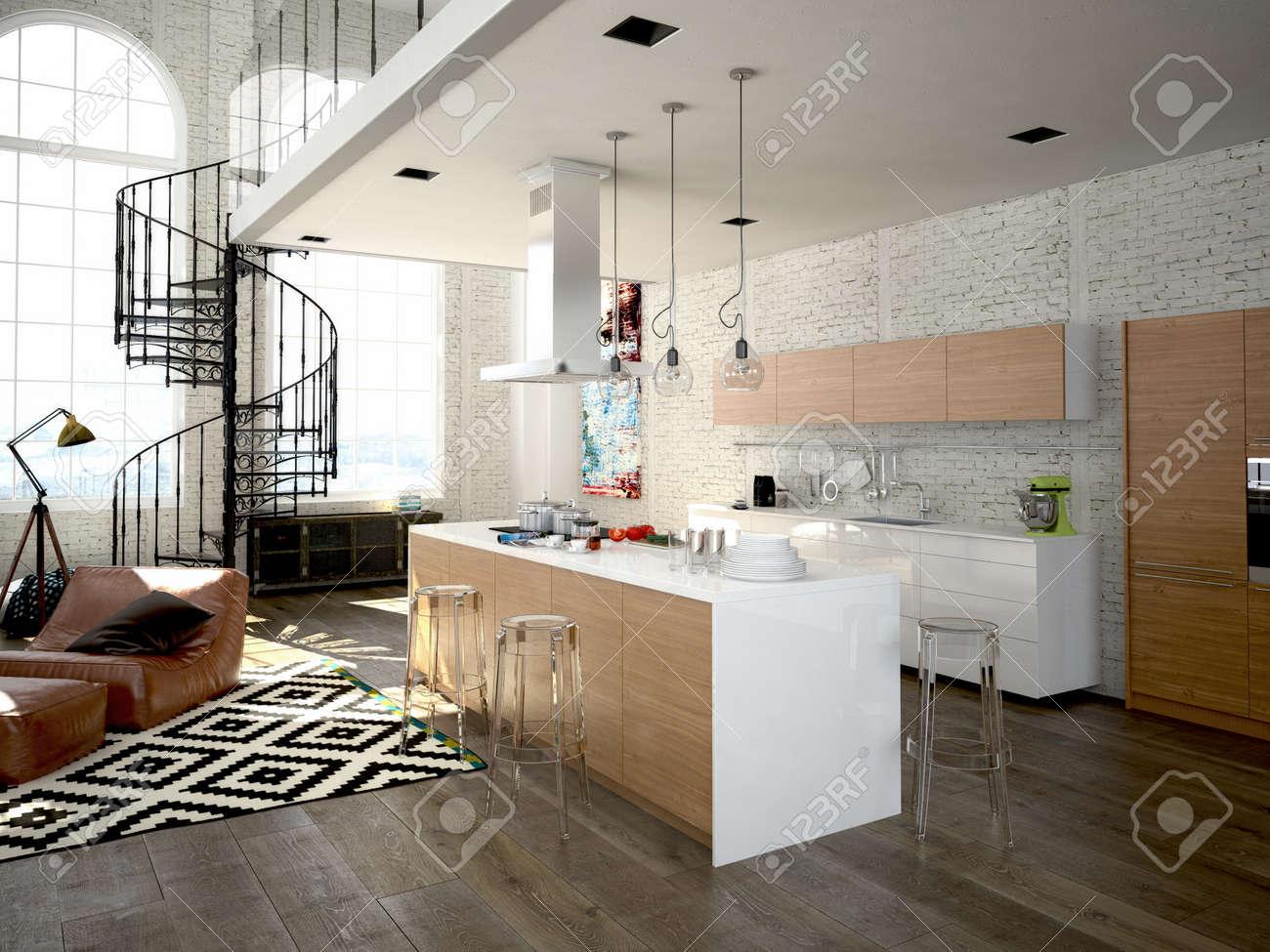 moderne loft mit küche und wohnzimmer. 3d-rendering lizenzfreie, Hause ideen