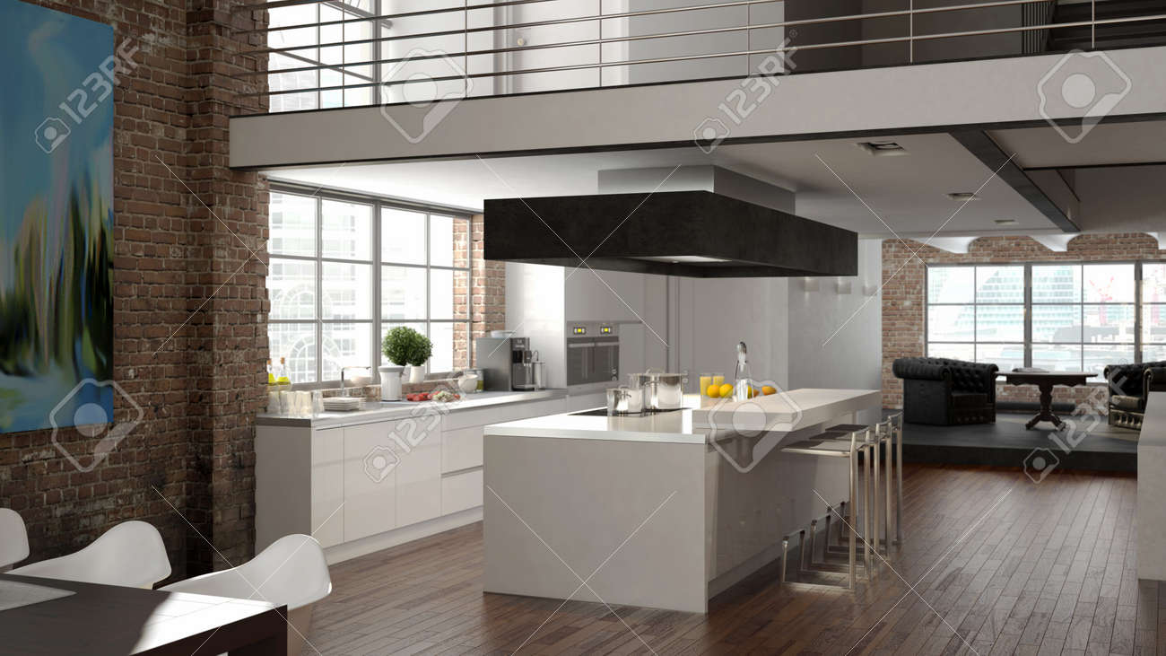 modern loft with a kitchen and living room. 3d rendering stock