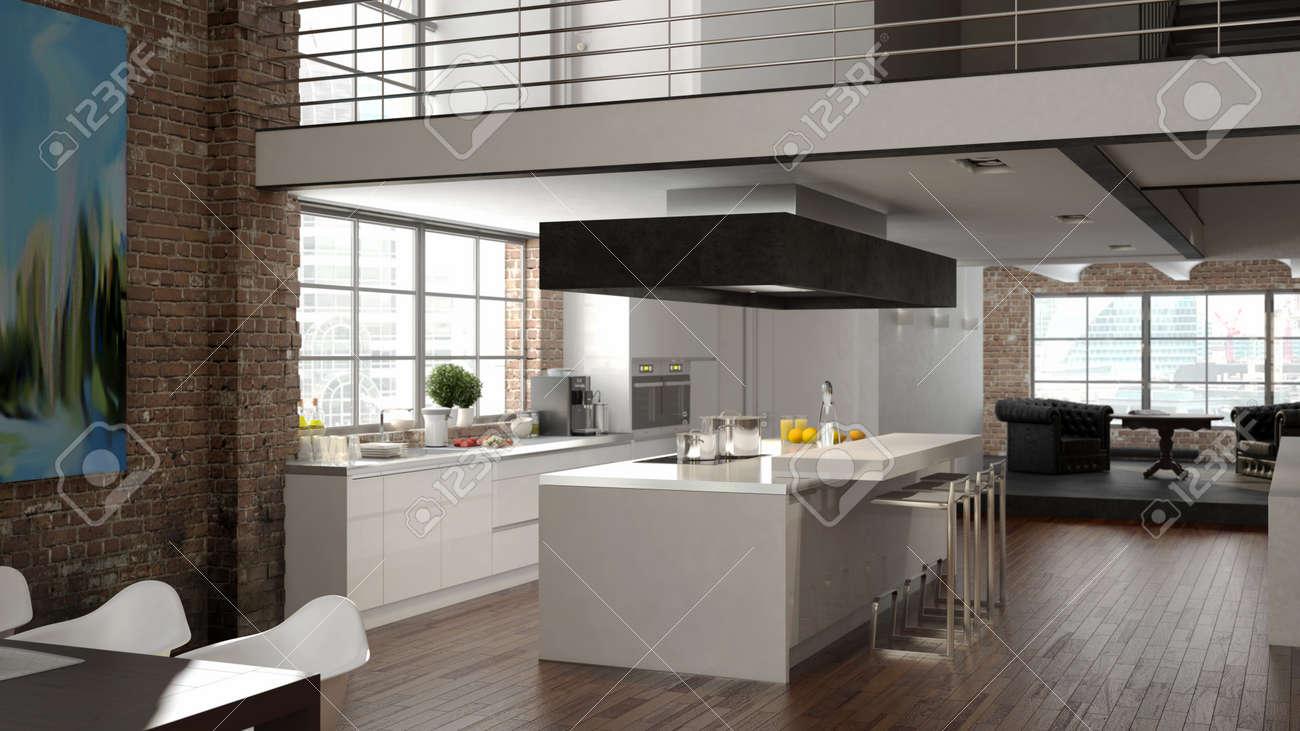 Wohnzimmer und kuche in einem kleinen raum moderne loft mit küche und wohnzimmer d rendering