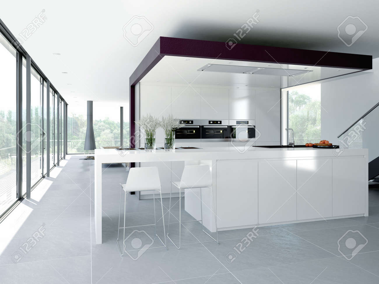 A Clean Modern Kitchen Interior. Design Concept Stock Photo, Picture ...