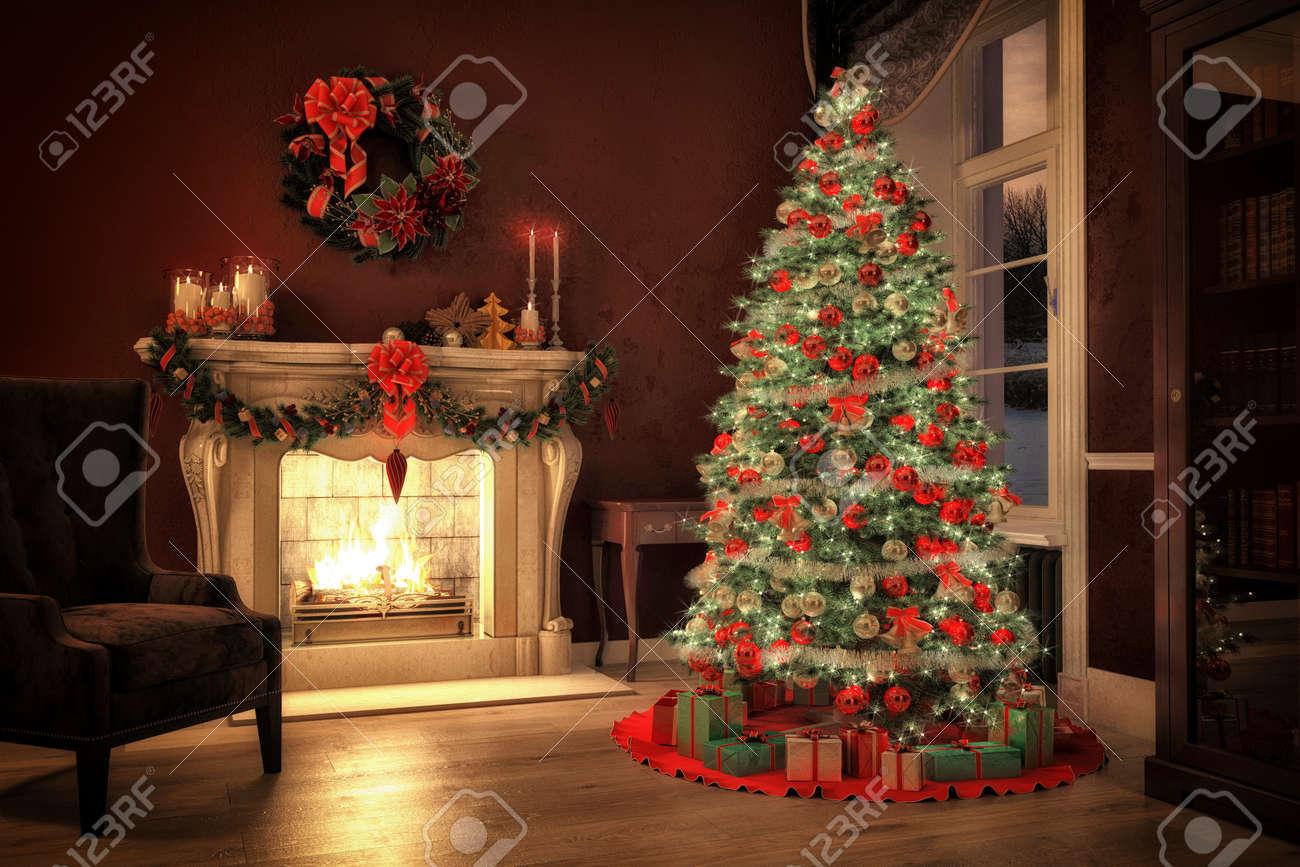 Christmas Scene With Tree Gifts And Fire In Background 3D