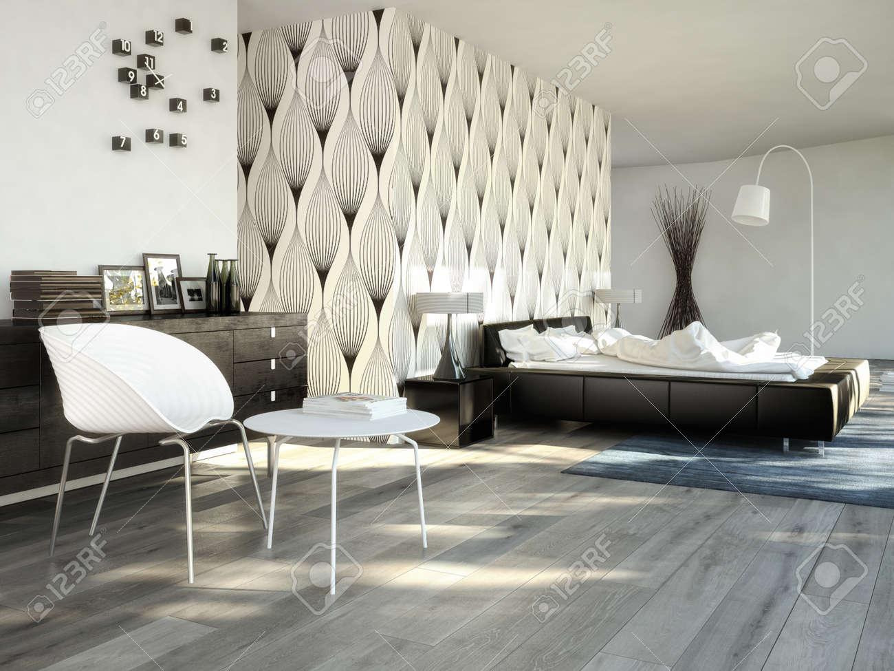 Grote moderne slaapkamer in een chique appartement. royalty vrije ...