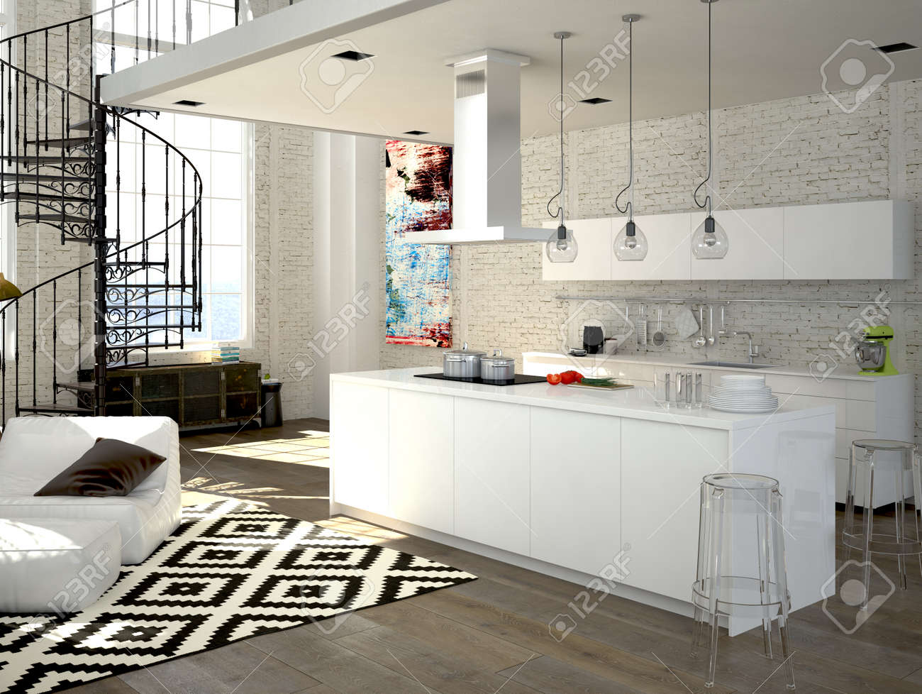 Modern Loft With A Kitchen And Living Room. 3d Rendering Stock Photo ...