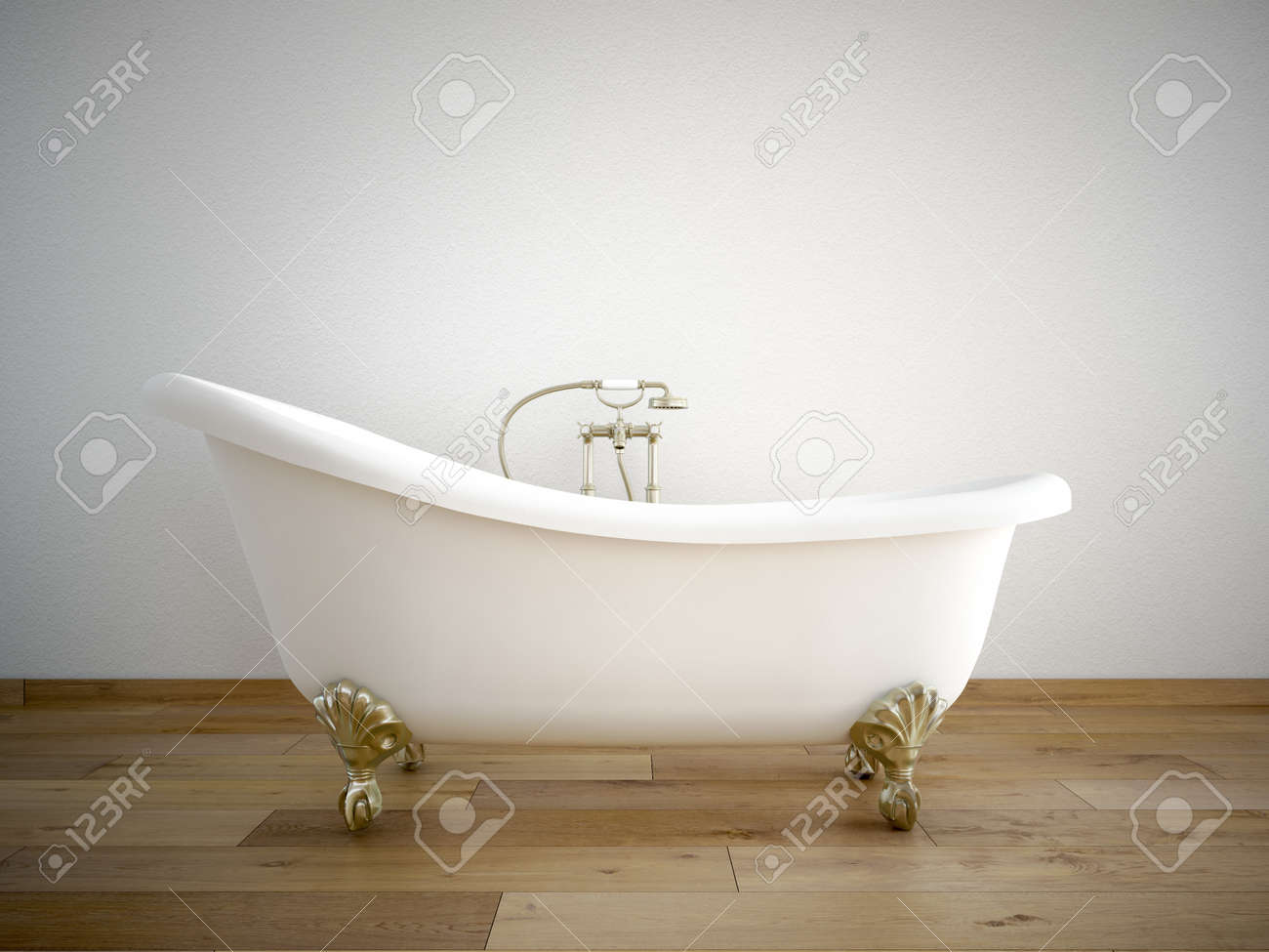Vintage Bath Tube In A Room With A Color Wall Stock Photo, Picture ...