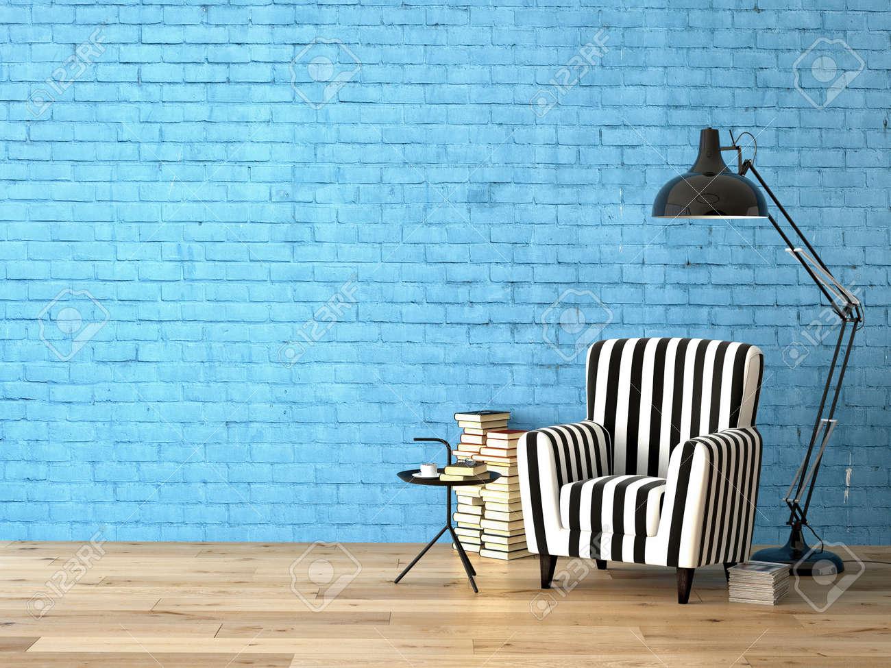 Vardagsrum med en fåtölj, lampa och böcker, 3d rendering royalty ...