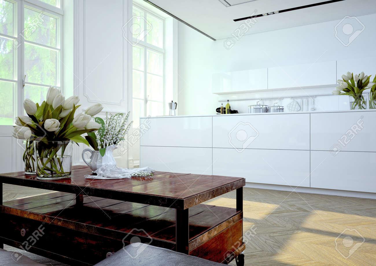 Luxuriöse Küche Mit Küchengeräten Aus Edelstahl In Einer Wohnung. 3D ...