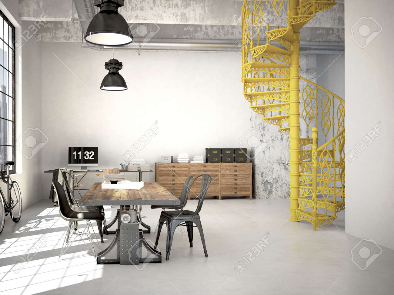 Spiral Stairs And Living Room In Modern Loft.3d Rendering Stock ...