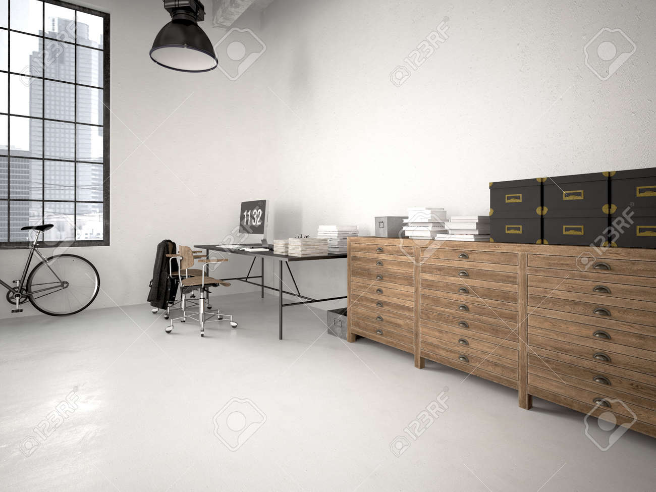 Modern Industrial Loft With Furniture. 3d Rendering Stock Photo   40910354