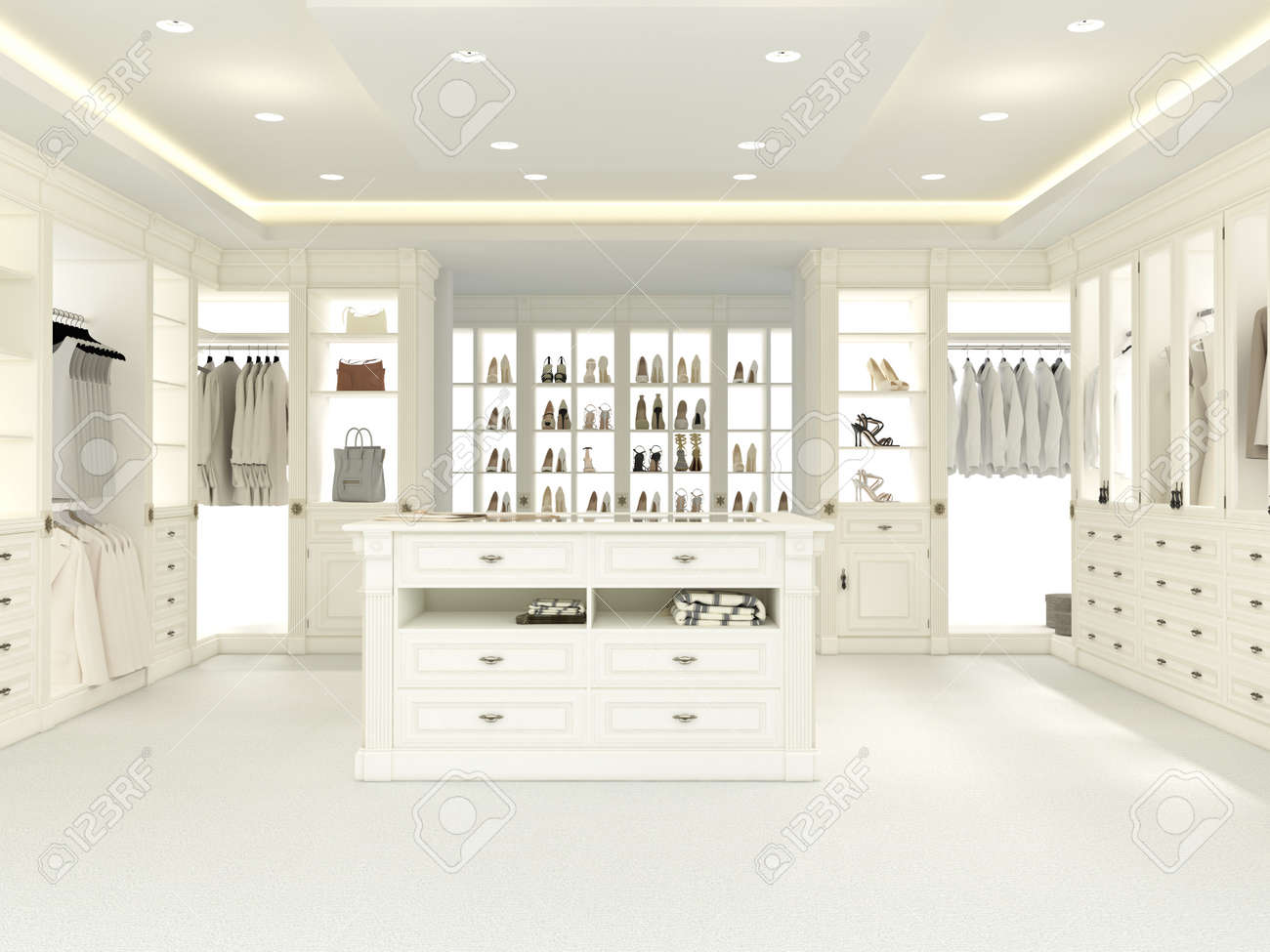 An American Luxury Walkin Closet With Many Space. 3d Rendering Stock Photo    41192212