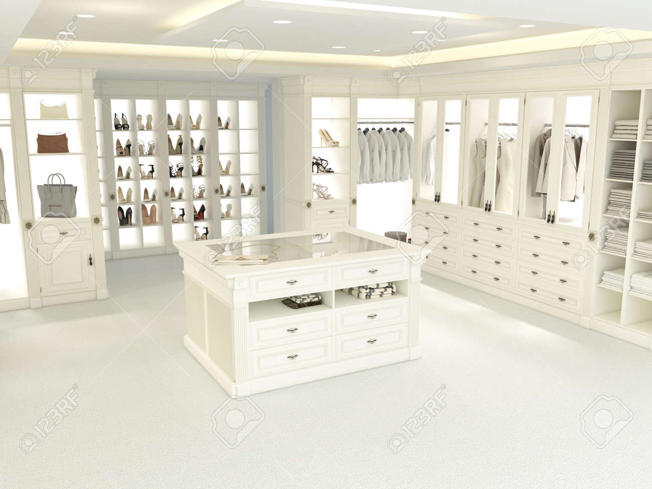 An American Luxury Walkin Closet With Many Space. 3d Rendering Stock Photo    41192217