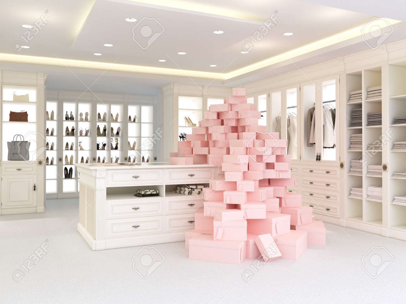 An American Luxury Walkin Closet With Many Space. 3d Rendering Stock Photo    41192228