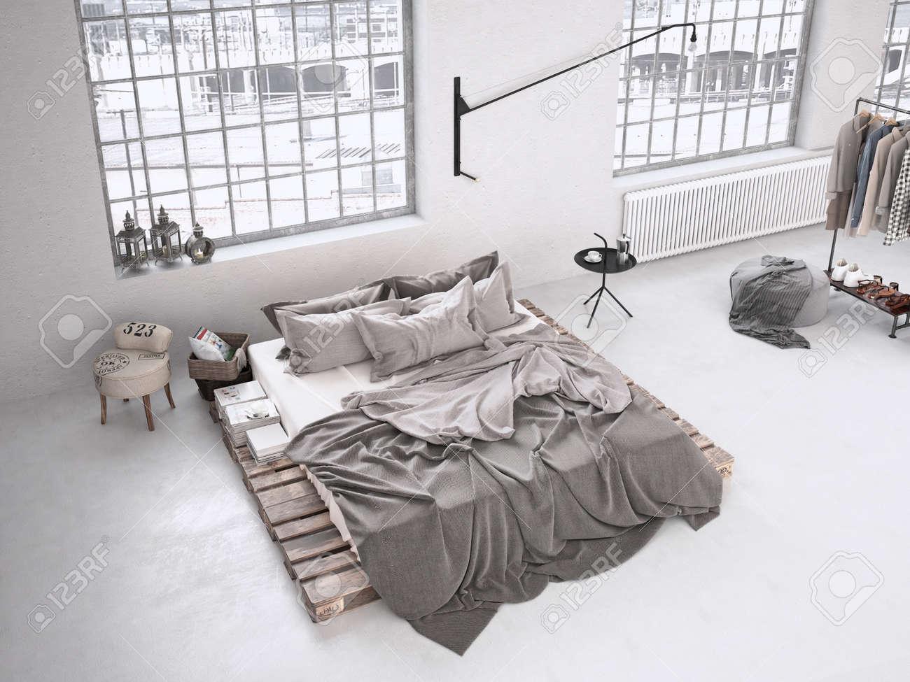 Modern industri sovrum i en vindsvåning. 3d rendering royalty fria ...