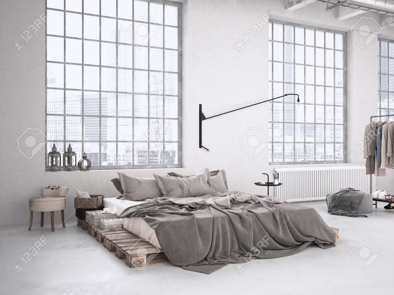 Modern Industrial Bedroom In A Loft 3d Rendering Stock Photo