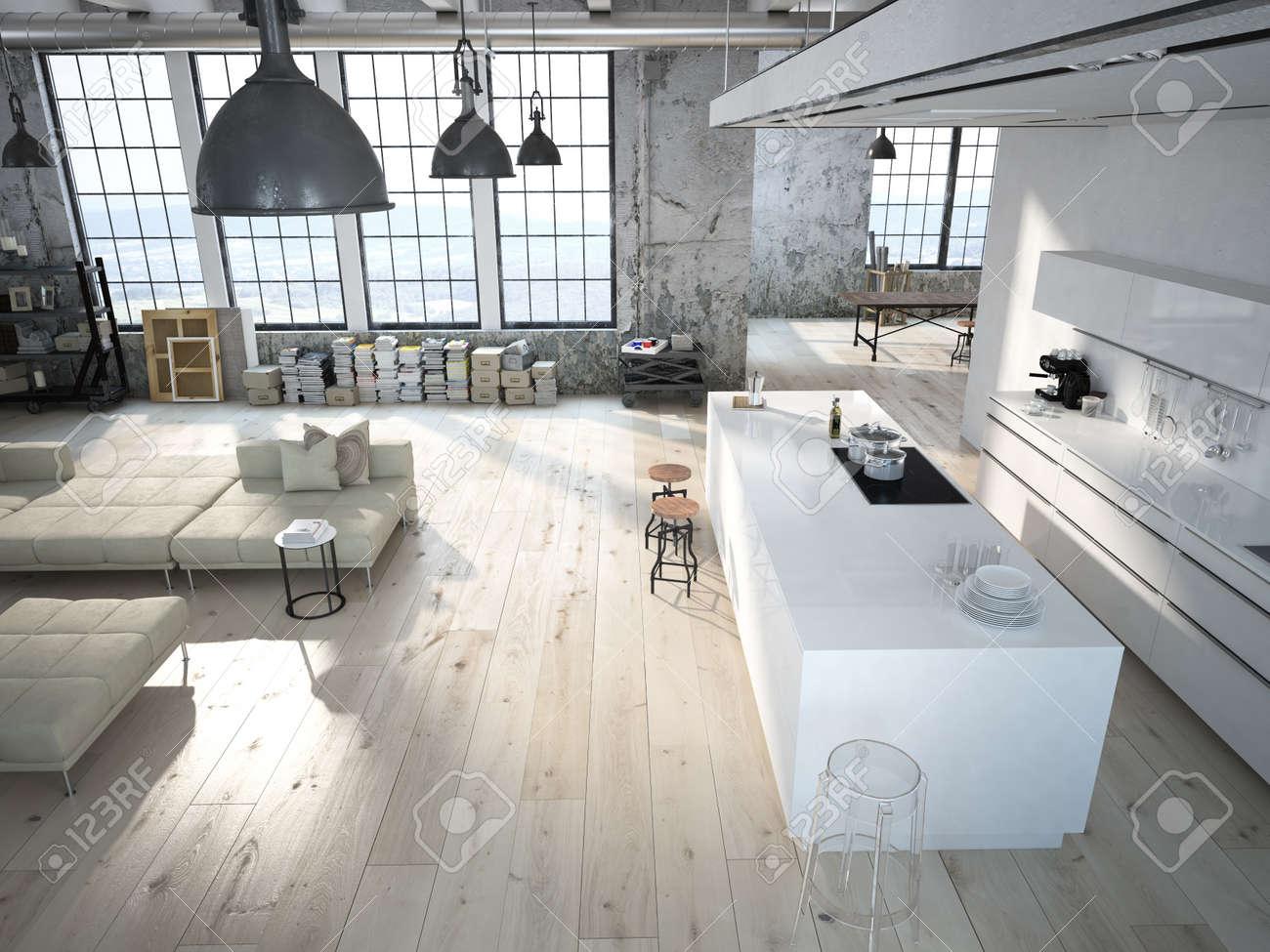 Moderne Loft Mit Küche Und Wohnzimmer. 3D-Rendering Lizenzfreie ...