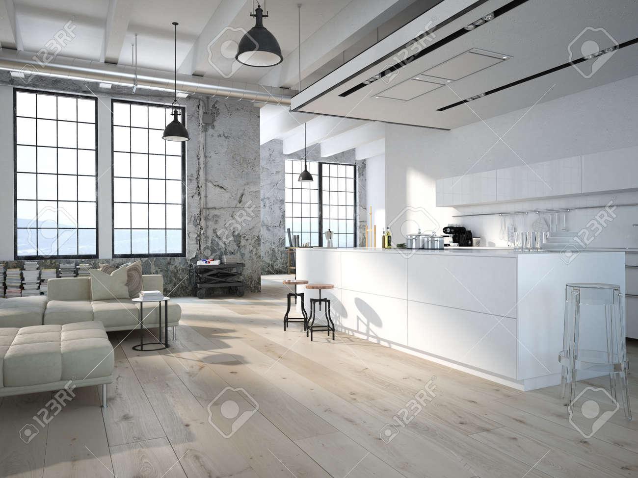 Moderne Loft mit Küche und Wohnzimmer. 10D-Rendering