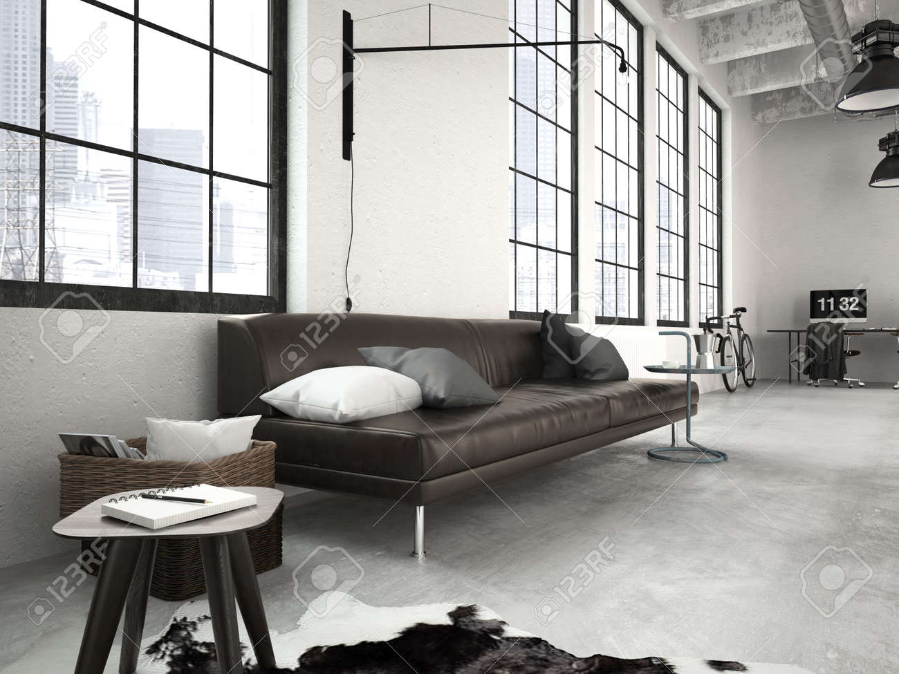 3d Rendering Of A Modern Industrial Style Loft Stock Photo, Picture ...