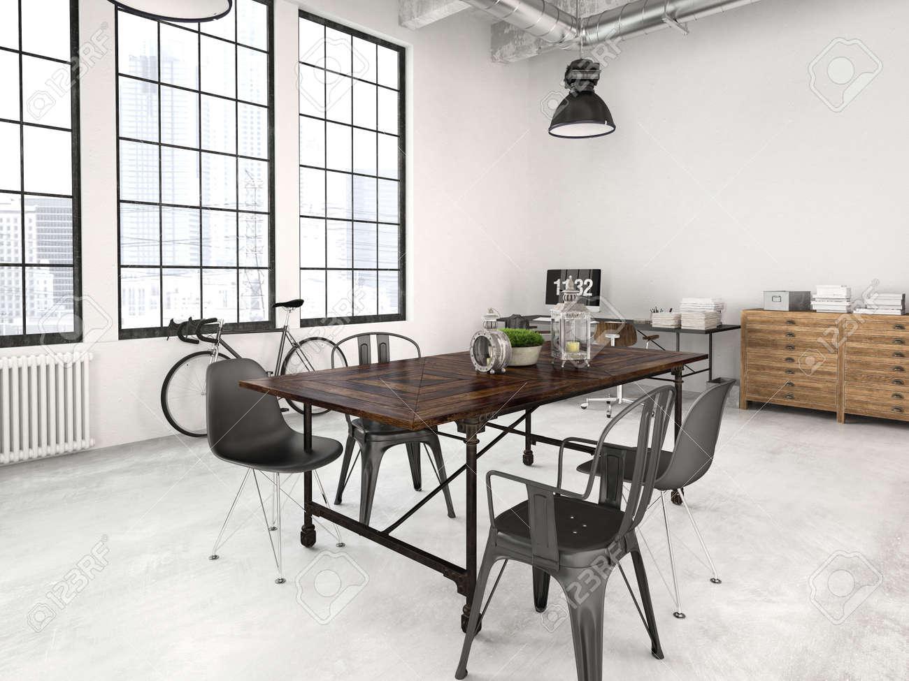 7db0b7fba1d 3d rendering of a modern industrial style loft Stock Photo - 47185812
