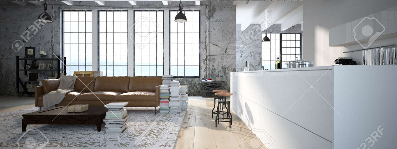 Modern Kitchen And Living Room modern loft with a kitchen and living room. 3d rendering stock