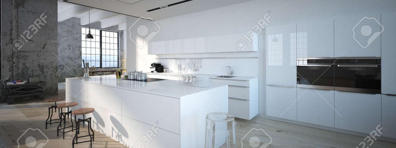 Le Design Intérieur De Cuisine Moderne. Rendu 3d Banque D\'Images ...