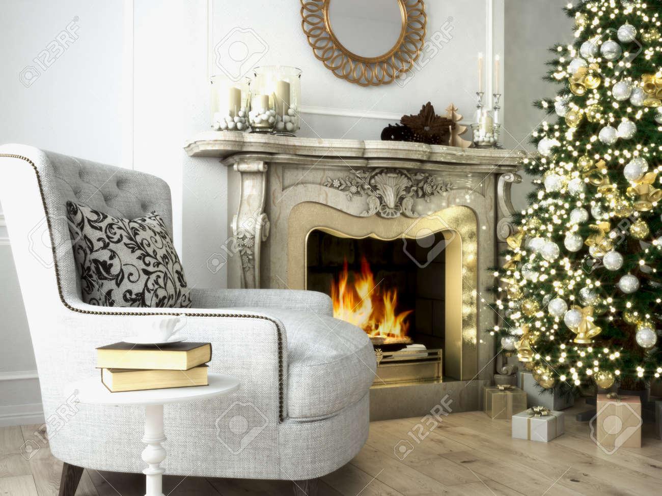 Weihnachten Wohnzimmer Mit Einem Baum Und Einem Kamin. 3D Rendering  Lizenzfreie Bilder   48558910