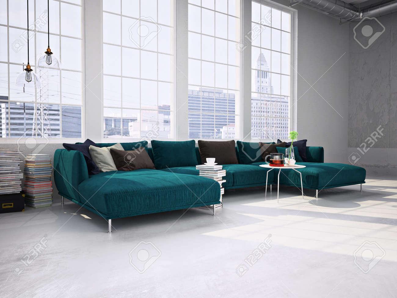 Beau Banque Du0027images   Salon Moderne Avec De Grandes Fenêtres, Un Canapé Moderne.  Rendu 3d