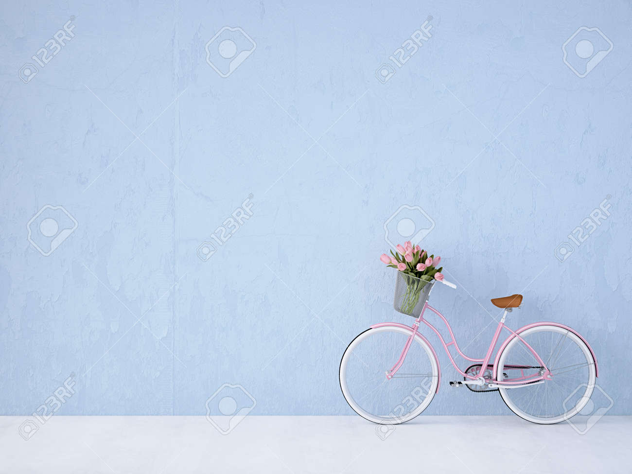 retro vintage bicycle with a blue wall. 3d rendering - 53083175