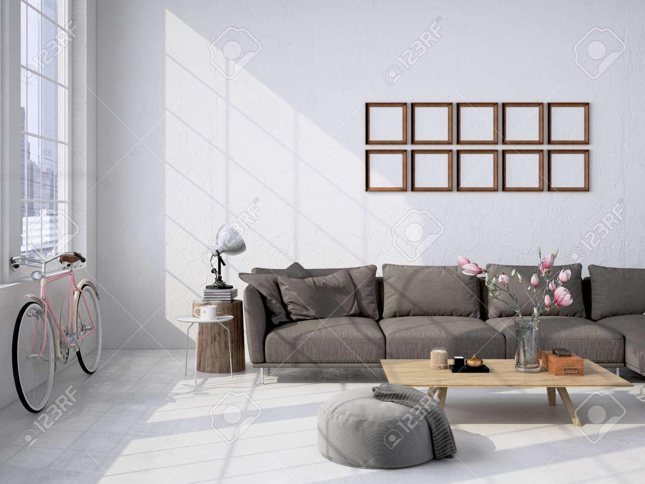 Contemporary Living Room Loft Interior. 3d Rendering Stock Photo ...