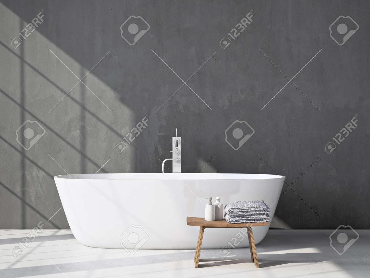 Salle de bains moderne gris. intérieur Spa. rendu 3d