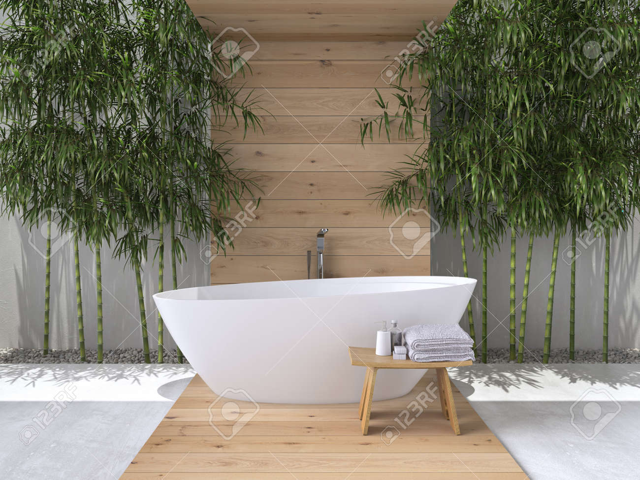 interior of a bathroom with bamboo. 3d rendering - 53243271