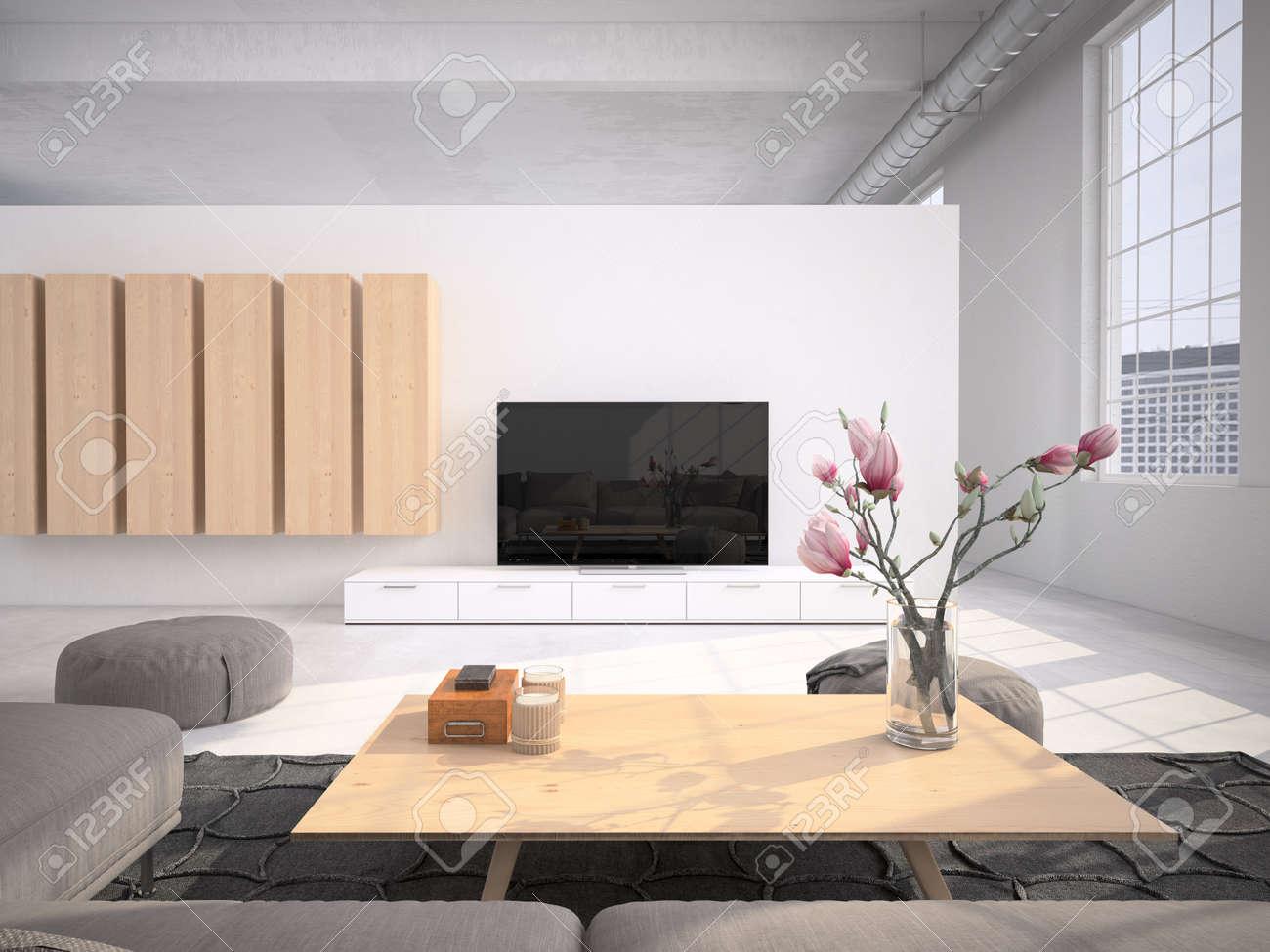 Contemporary living room loft interior. 3d rendering - 54877723
