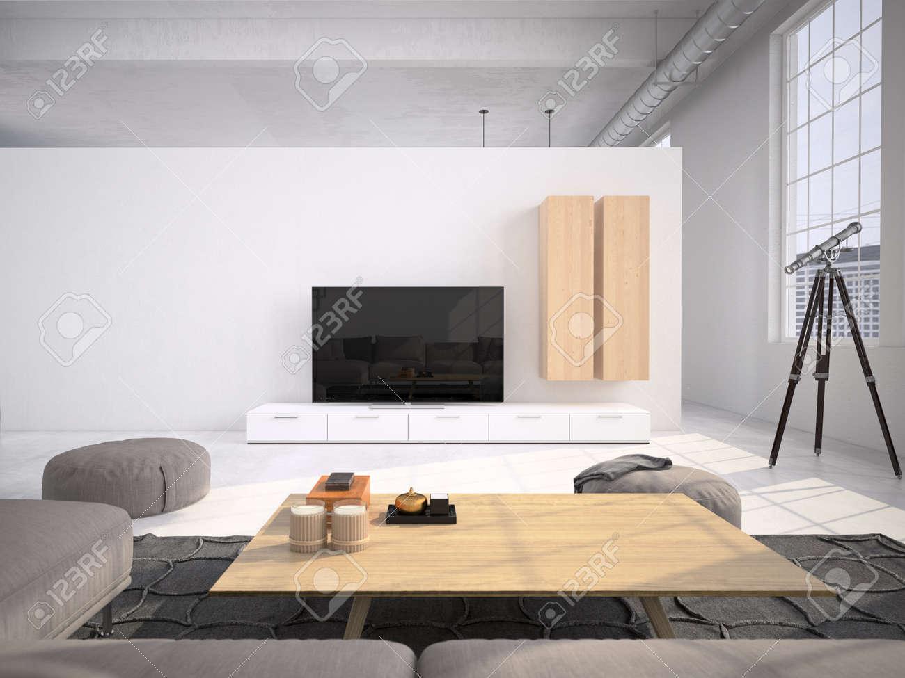Intérieur contemporain loft salon. Rendu 3d