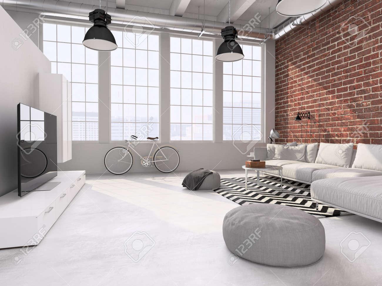 Intérieur Contemporain Loft Salon. Rendu 3d Banque D\'Images Et ...