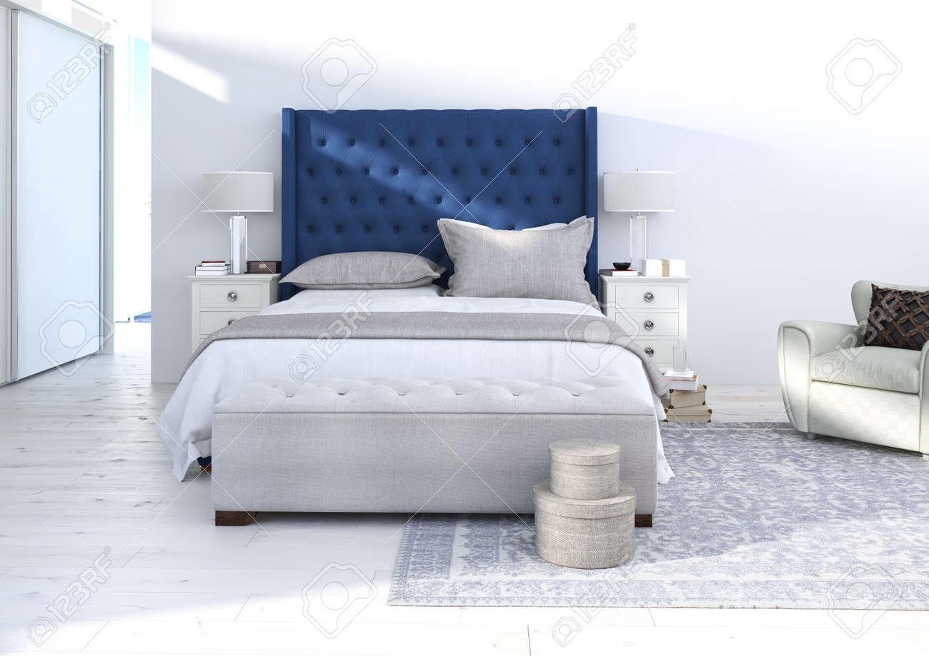 Comfortabele Slaapkamer Met Mooie Decoratie, Interieur Ideeën. 3D ...