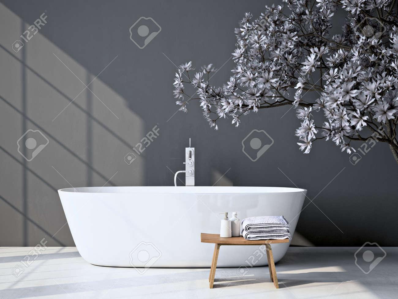 Modern grey bathroom. Spa interior. 3d rendering - 56466668