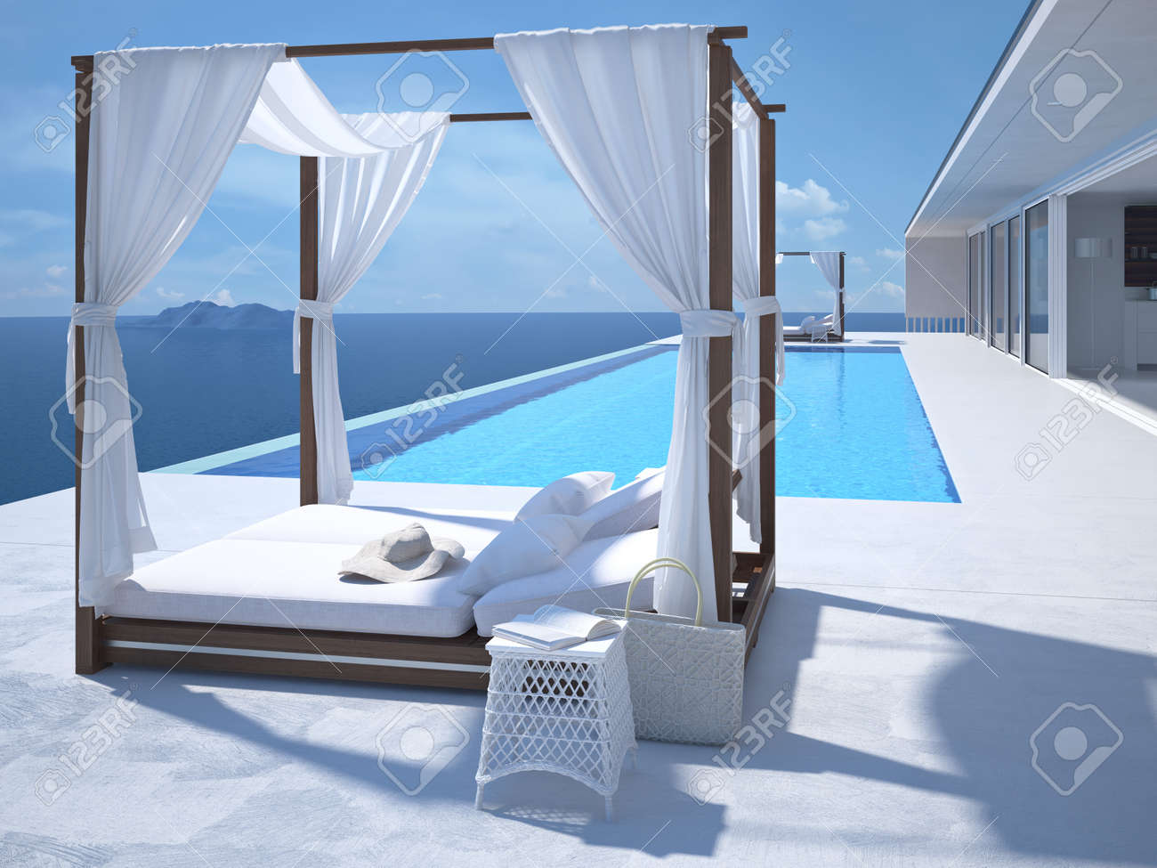A luxury swimming pool in santorini. 3d rendering - 58406311