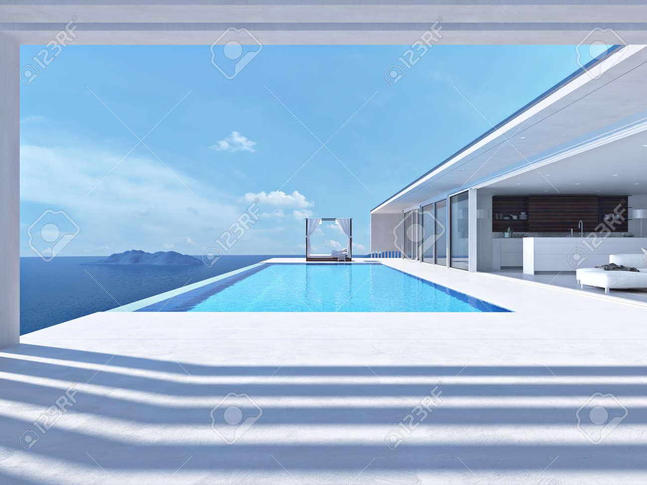 luxury swimming pool in summer. 3d rendering - 58463971