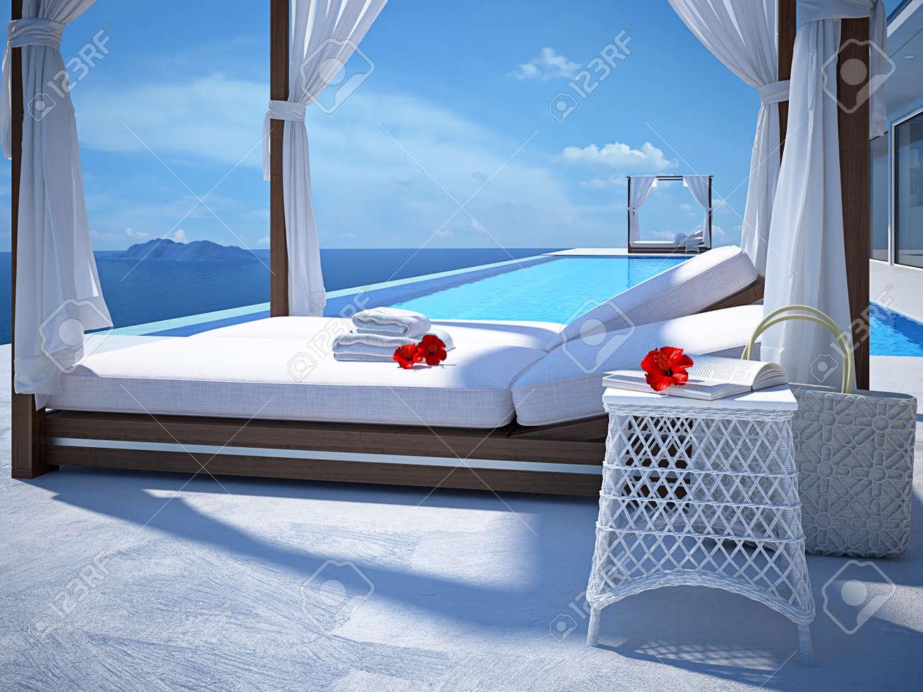 luxury swimming pool in summer. 3d rendering - 58784351