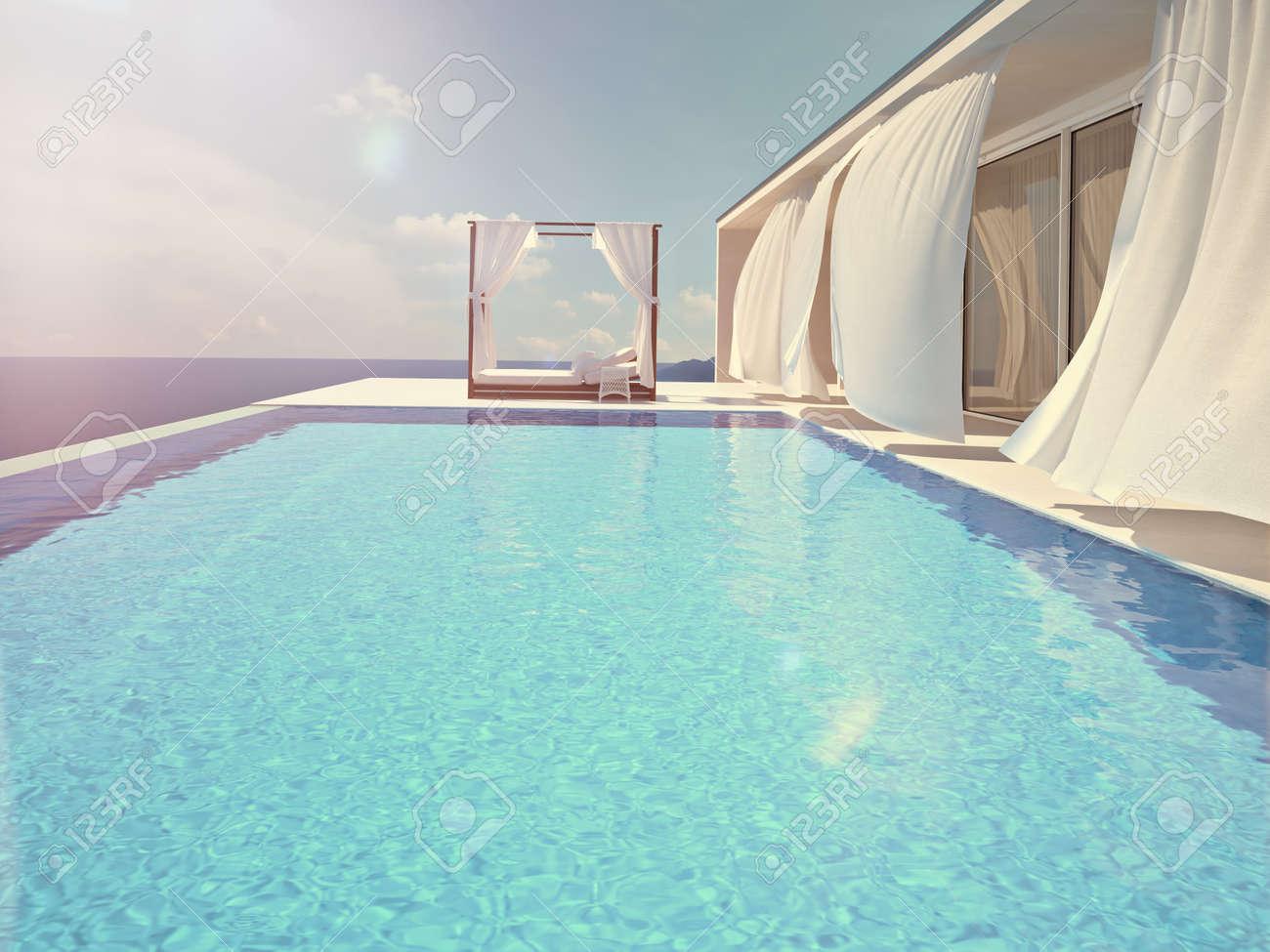 luxury swimming pool in summer. 3d rendering - 59062718
