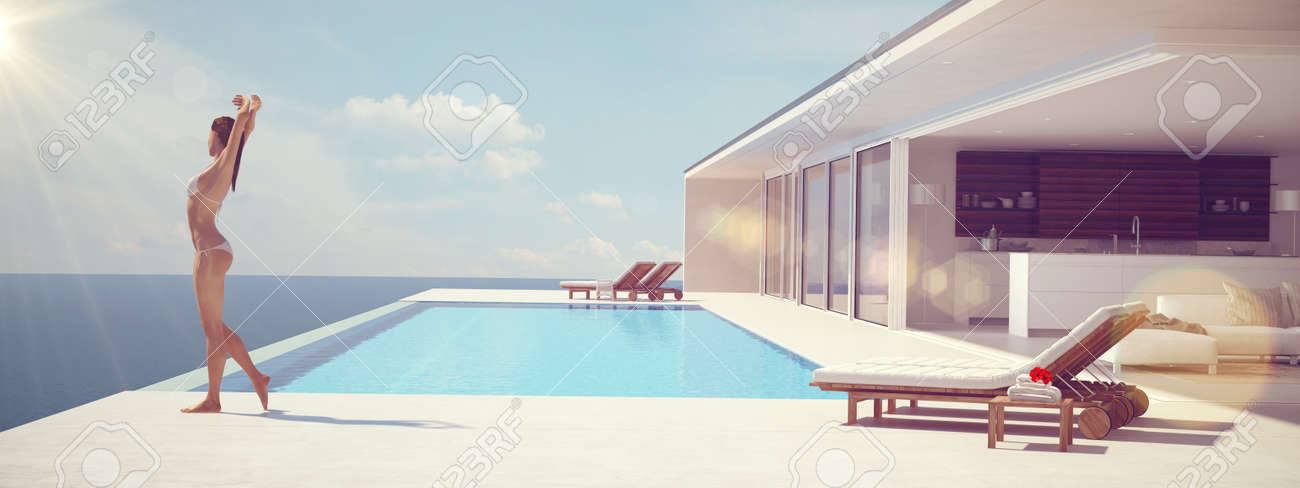 Young woman enjoying the sun at the endless pool. color edit.3d rendering - 59951606