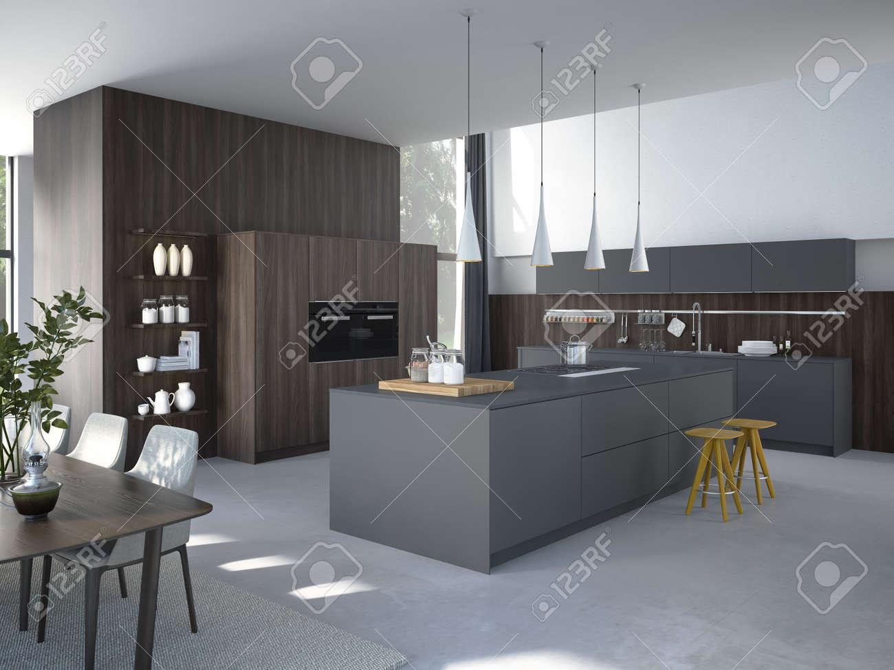 AuBergewohnlich Modern, Hell, Sauber, Küche Unter Mit Edelstahlgeräten In Einem Luxus Haus.