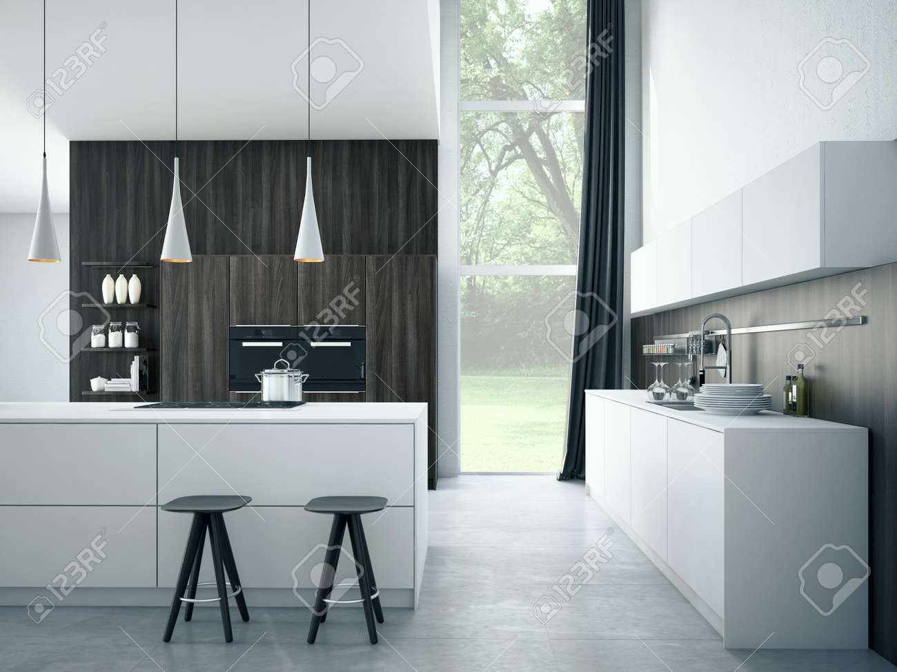 Modern, Hell, Sauber, Küche Unter Mit Edelstahlgeräten In Einem Luxus Haus.