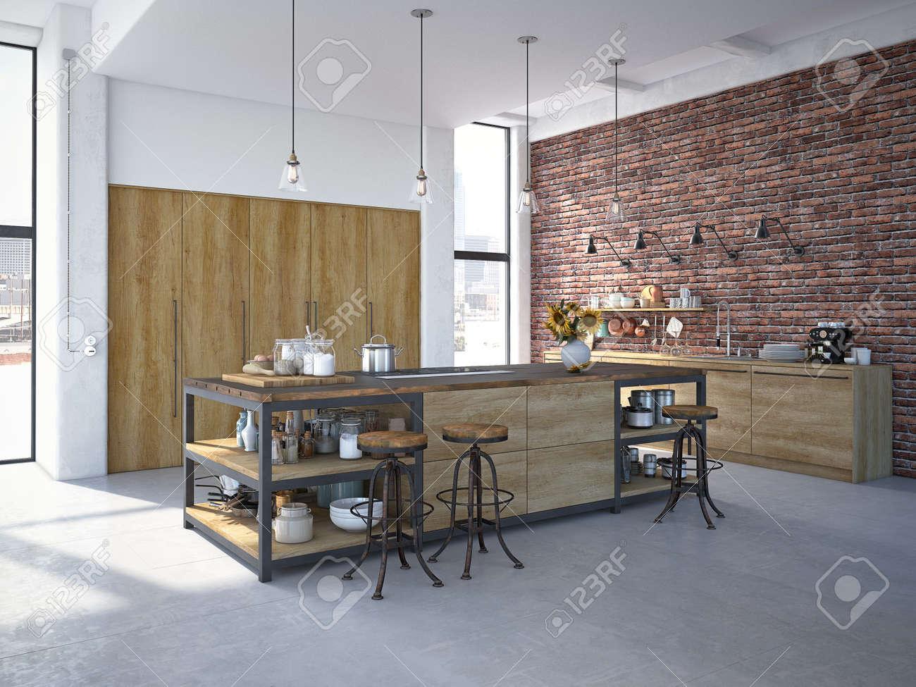 3d rendering of Modern Design Kitchen Interior - 61009523